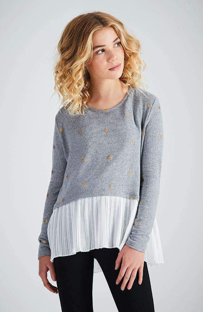 cosima grey & gold pleated ruffle knit top