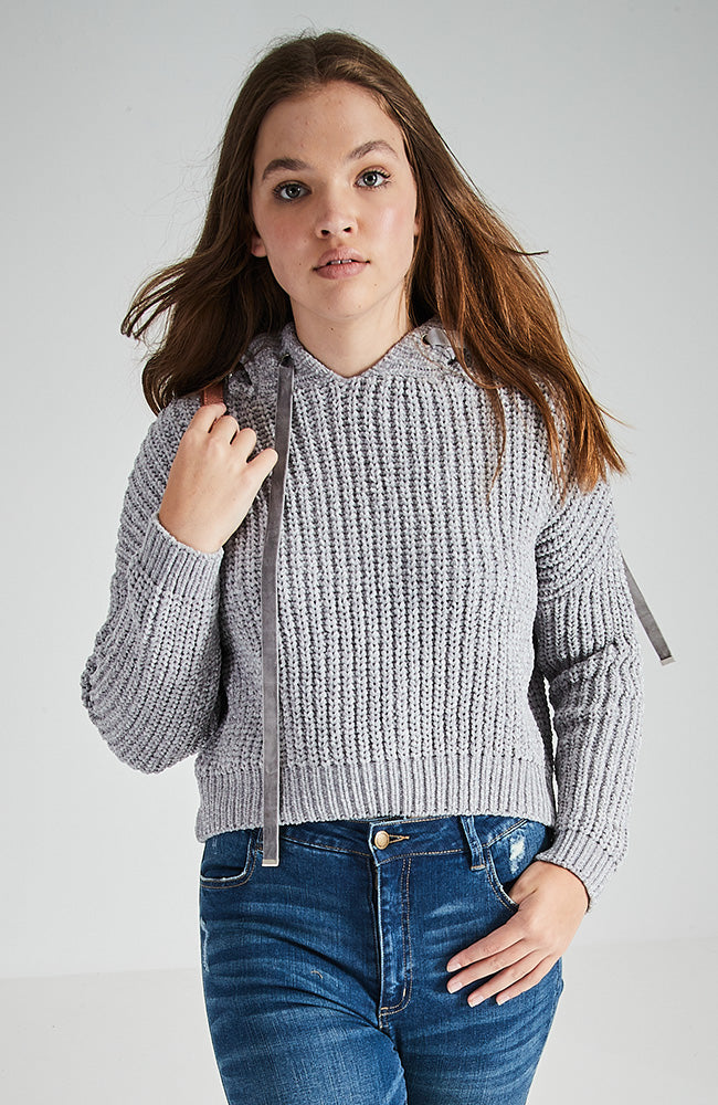 lola grey chenille hooded knit top