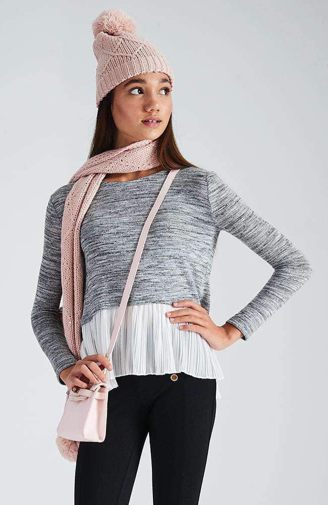 cory grey & silver pleated ruffle knit top