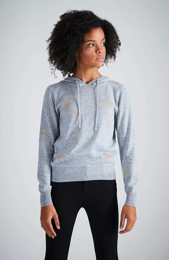 grey hooded gold star knit