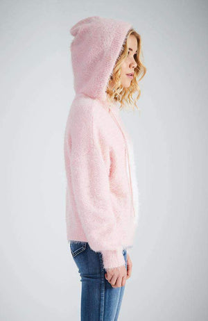 kat fuzzy pink kitten hooded knit
