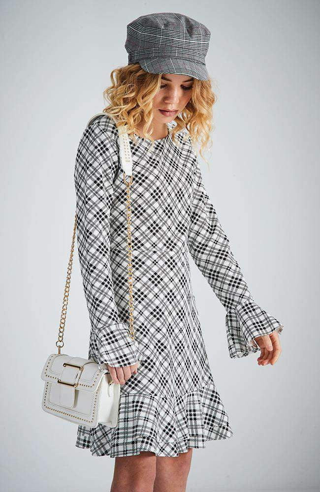 mary black & white check ruffle dress