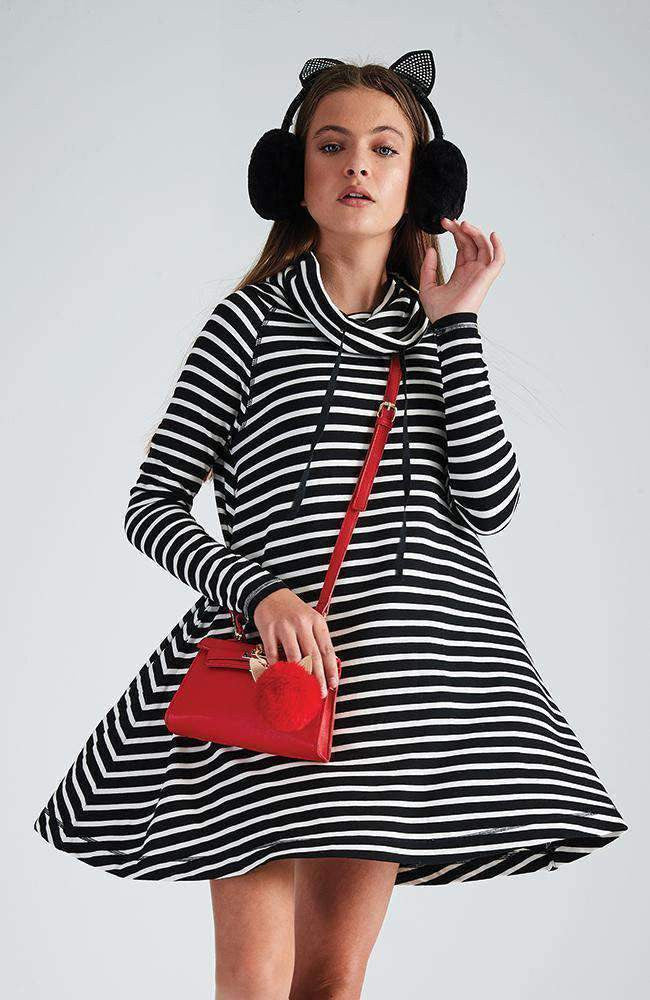 calista black & white stripe funnel neck knit dress