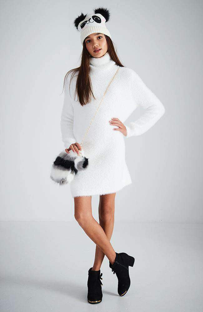 magda white fluffy roll neck knit dress