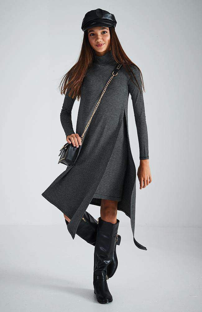 ivanka grey layered soft knit dress