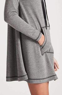 zuri dark grey a-line funnel neck knit dress