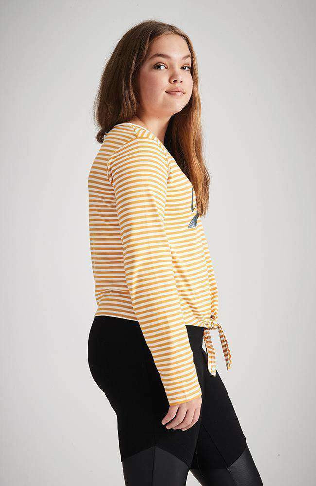 merci yellow & white stripe tie waist tee