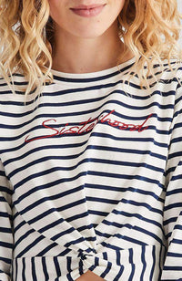 sisterhood white & red embroidered knot tee
