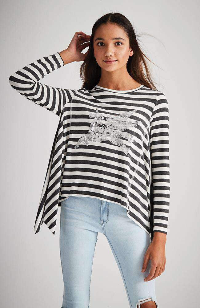 pegasus black & white stripe silver sequin asymmetrical tee
