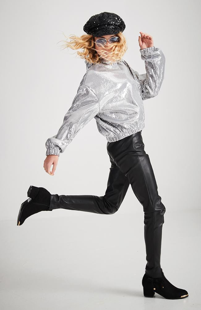 stella silver stretch sequin hooded top