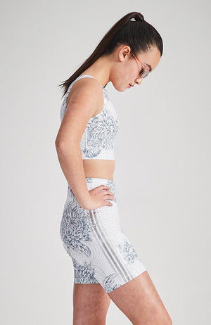 lauren silver metallic stripe floral active crop top