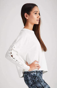 jill white lace-up boxy active sweat top
