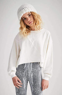 kellie cream boxy cropped active sweat top