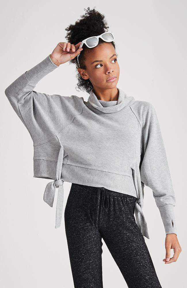 julie grey funnel neck cropped tie waist sweat top