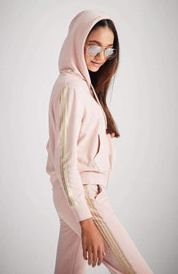 arlene pink & gold stripe hooded active sweat top