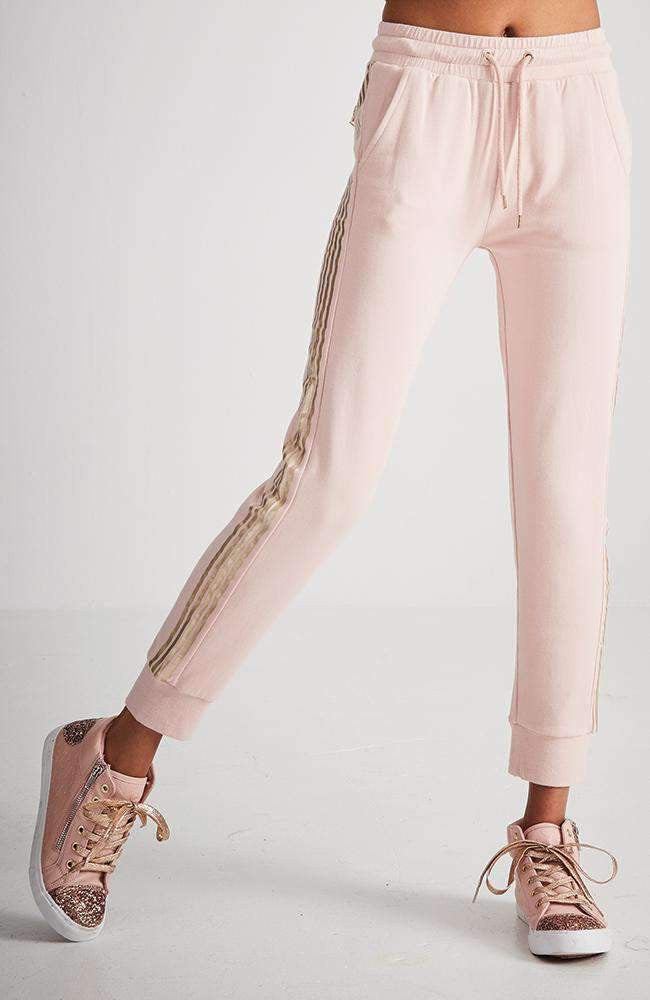 arlene pink & gold stripe active sweat pant