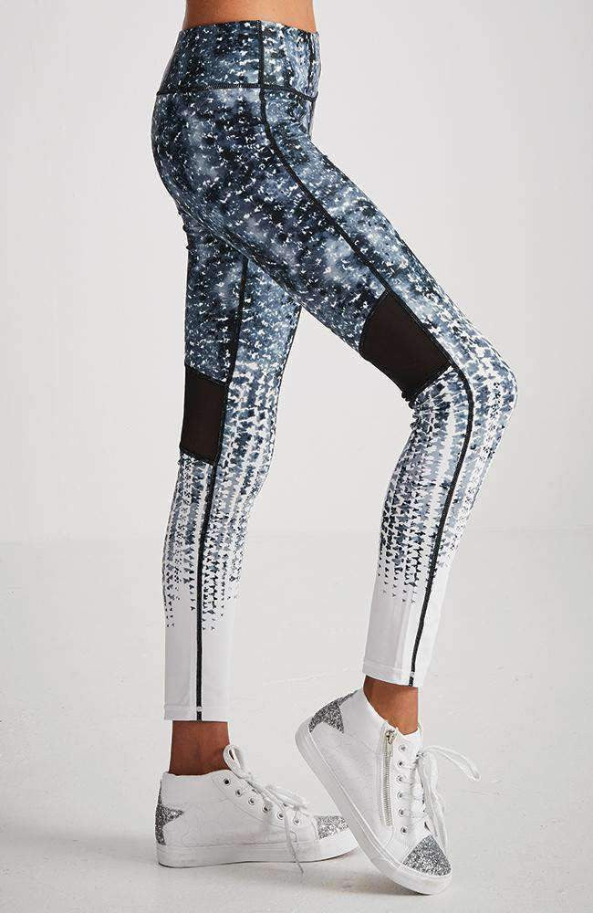 samira black & white print mesh panel legging