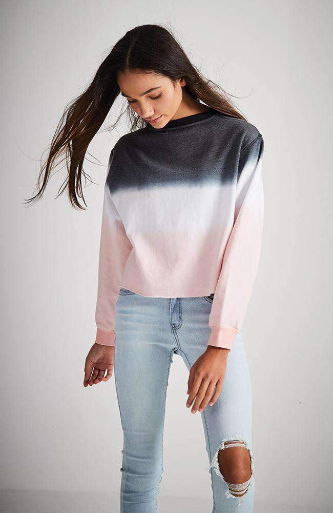 samira grey white & pink dip dye ombre sweat top