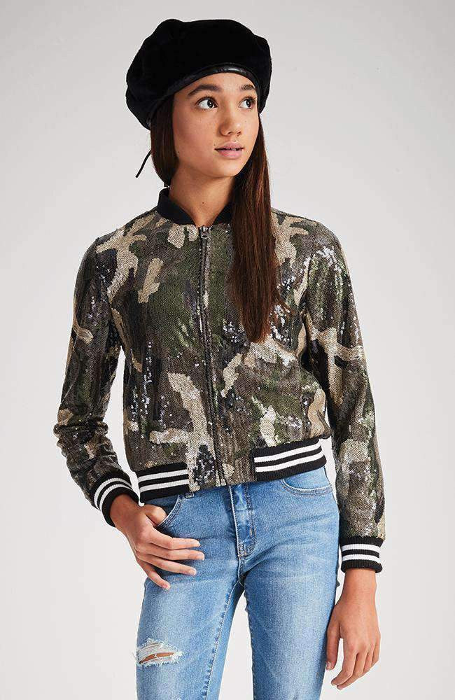 kristy camo sequin bomber jacket