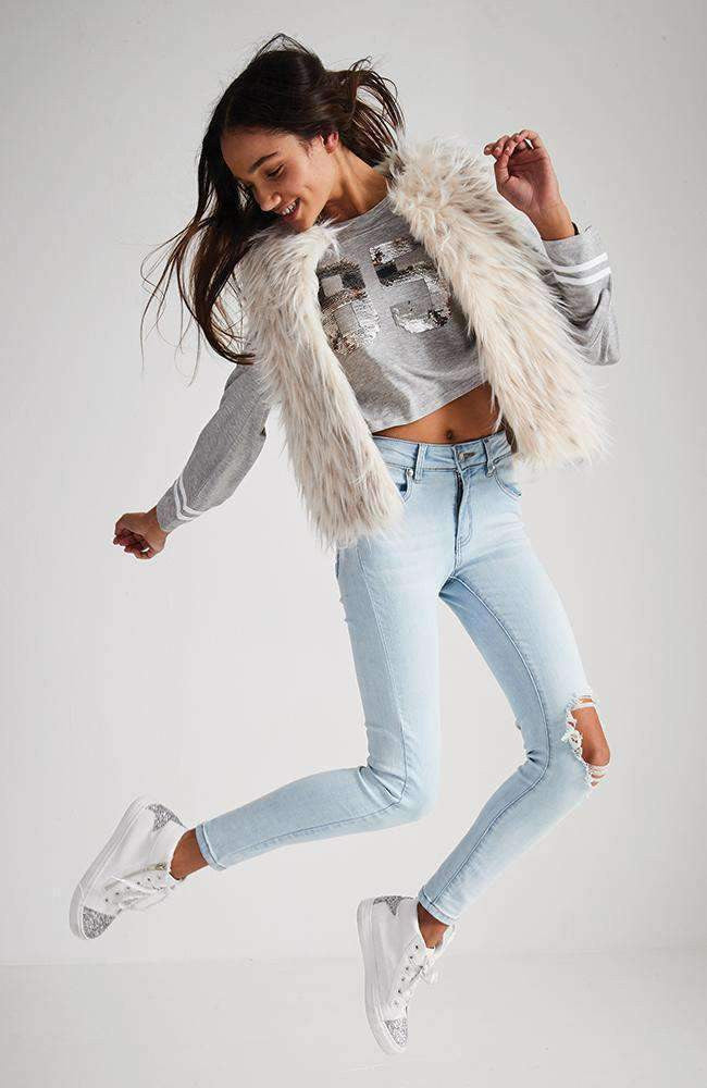 jess cream faux fur fluffy vest