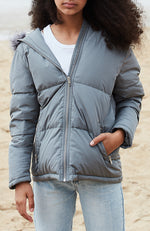 Cilla Luxe Duck Down Hooded Puffer Jacket Coat - Grey