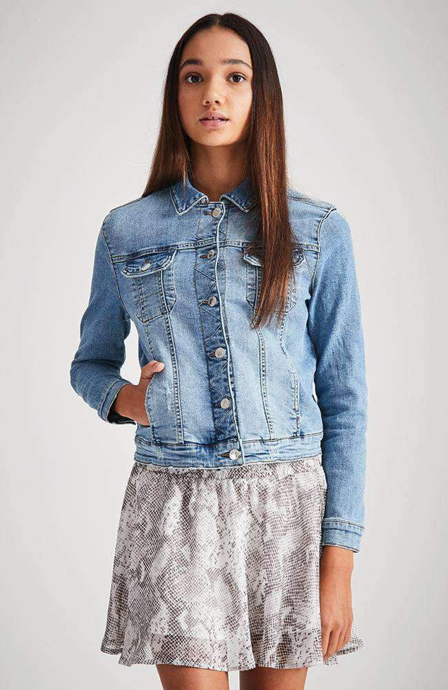 anita faded blue stretch denim zip jacket