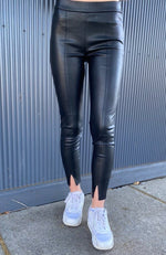tallulah black faux leather stretch zip legging