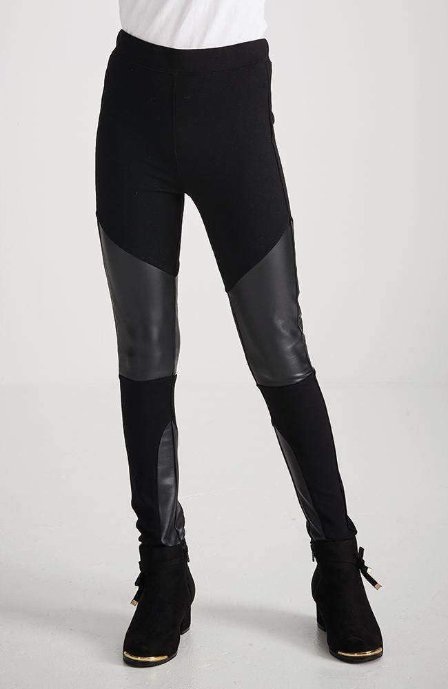 koula black ponte & faux leather panel legging