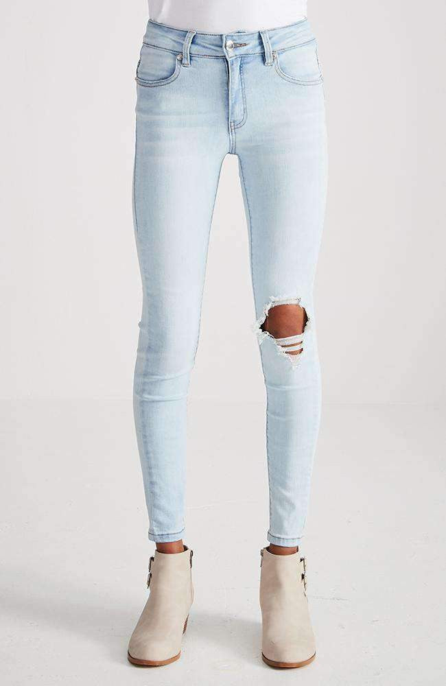 genevieve faded blue ripped skinny jean