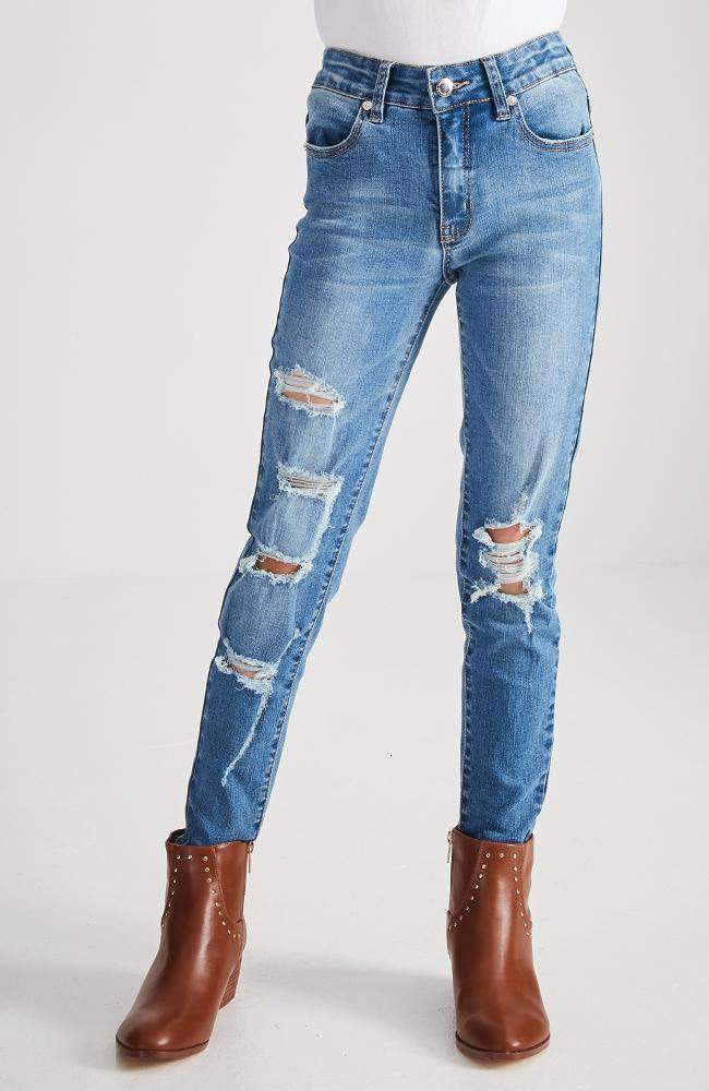 maeve mid blue ripped distressed skinny jean
