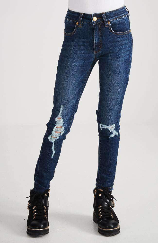 skylar dark blue ripped distressed skinny jean