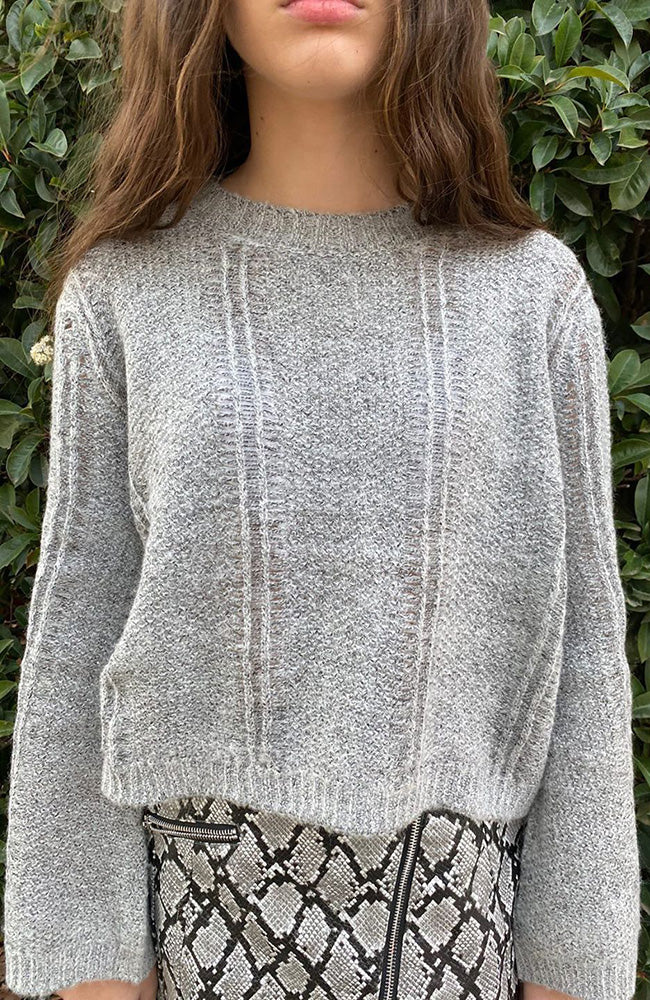 lois grey wide sleeve cropped open knit