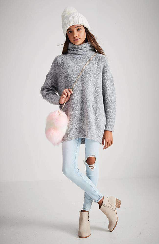 casey oversized grey fluffy roll neck knit