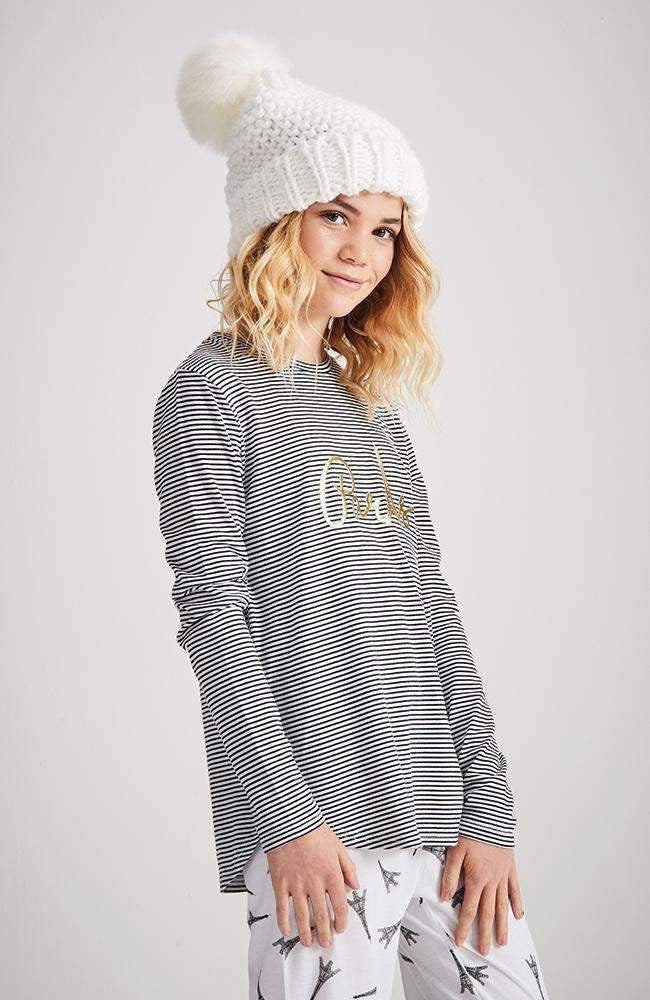 eiffel tower striped pyjama lounge top