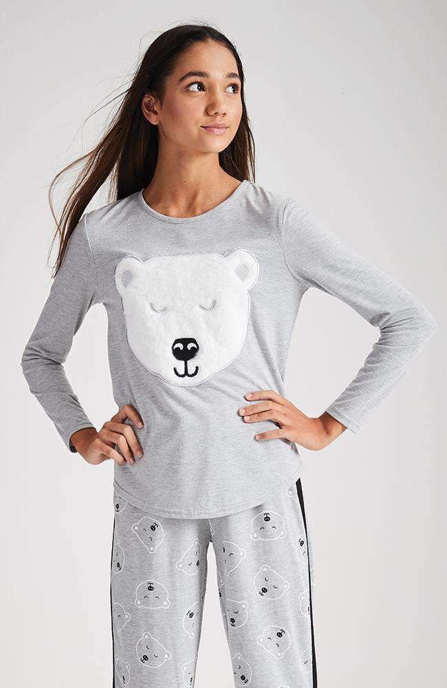bearly awake white & grey fluffy pyjama lounge top