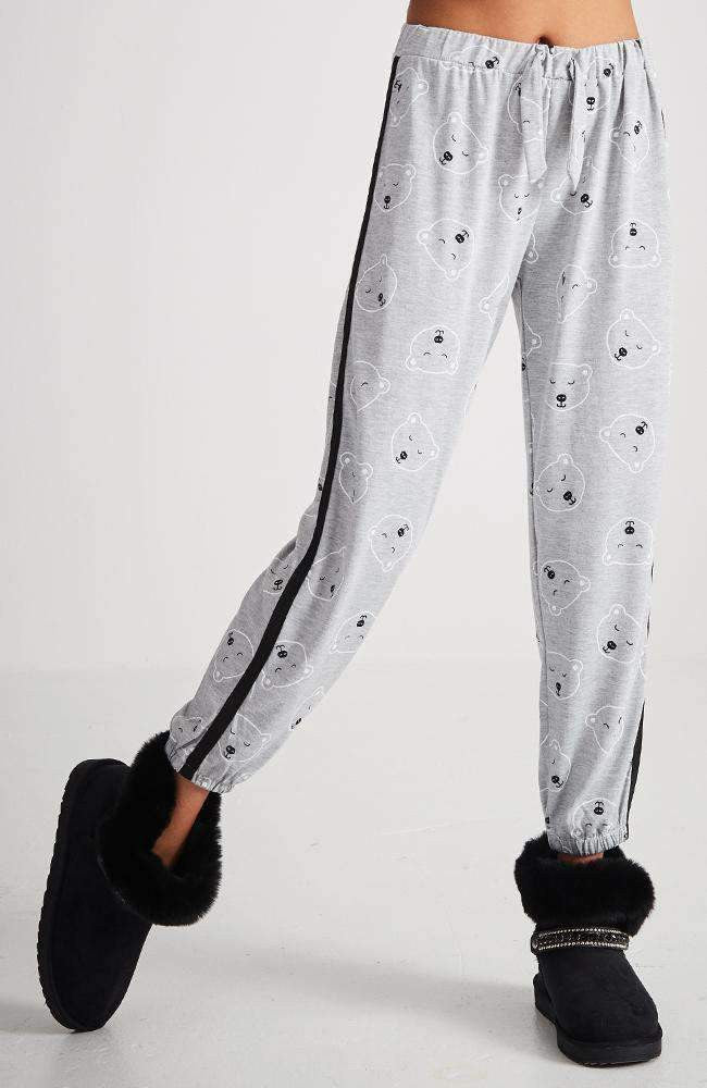bearly awake white & grey pyjama lounge pant