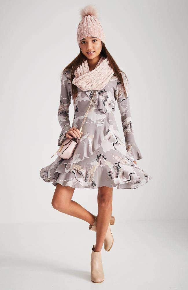 abigail taupe ruffle bird print dress