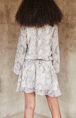 riley grey & white snake print georgette dress