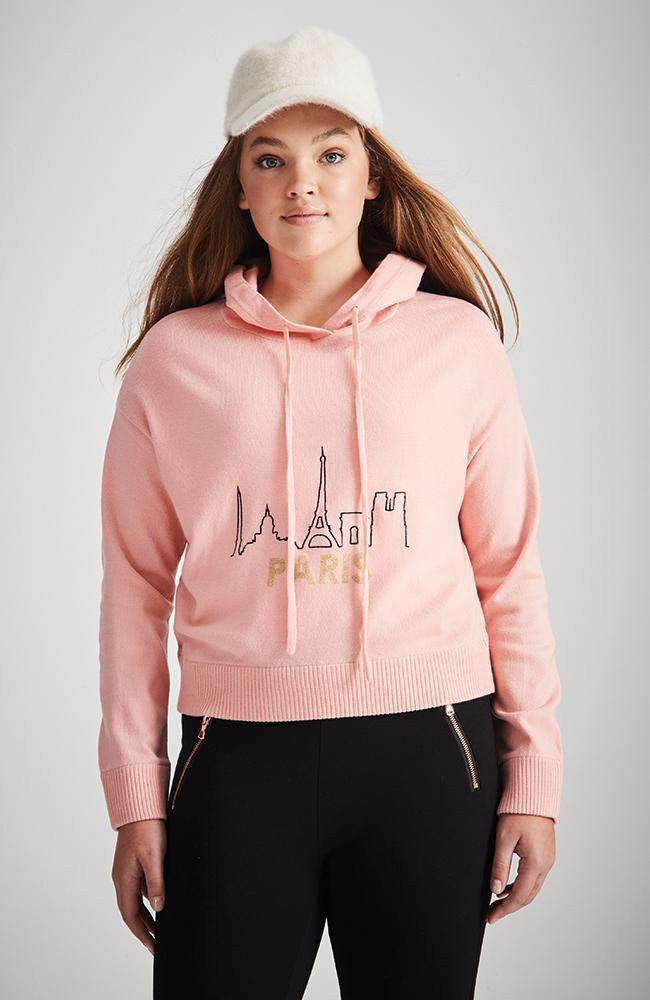 isabella pink hooded paris knit