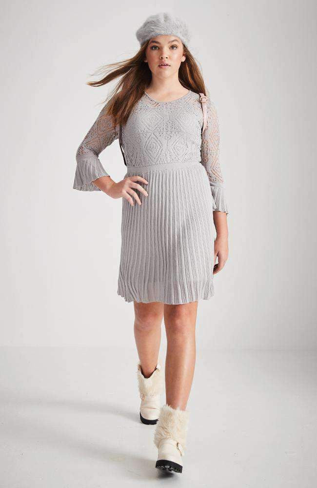 lourdes grey crochet pleated knit dress