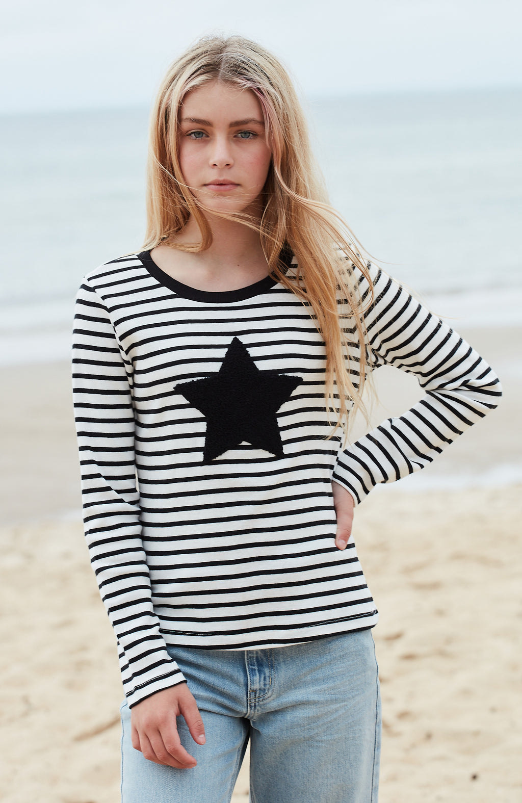 elaine striped applique breton top