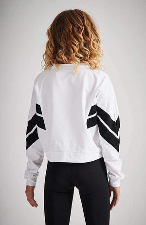lorena white & black stripe cropped sweat top