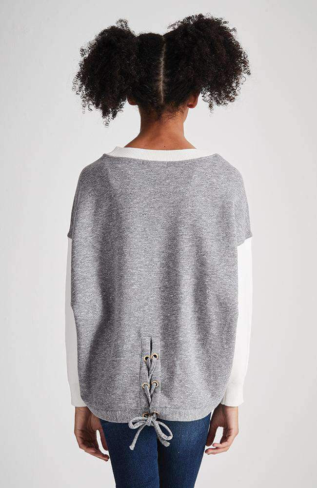 marva cream & grey lace up sweat top