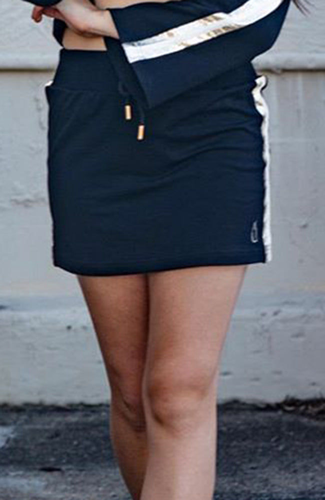 ally black & gold foil sweat mini skirt