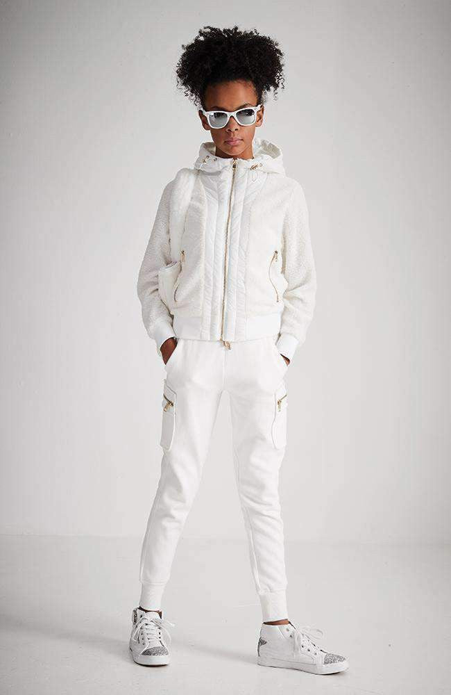 izzy white hooded sherpa puffa jacket