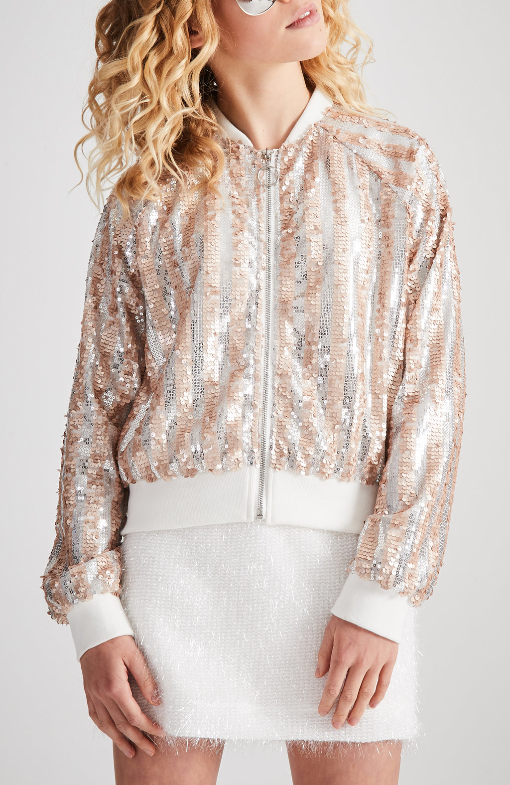 nancy rose gold & silver sequin bomber jacket