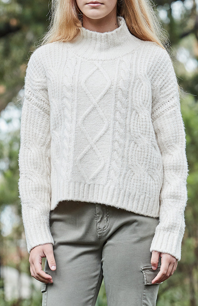 jen cream chunky cropped cable knit