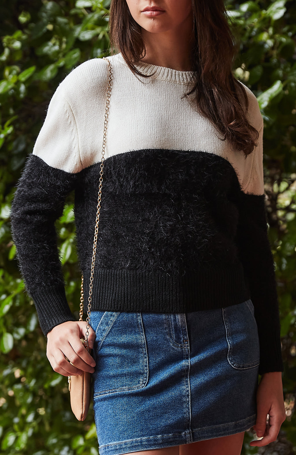 georgia cream & black fuzzy knit