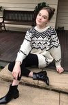 kerry black & cream chunky fair isle knit