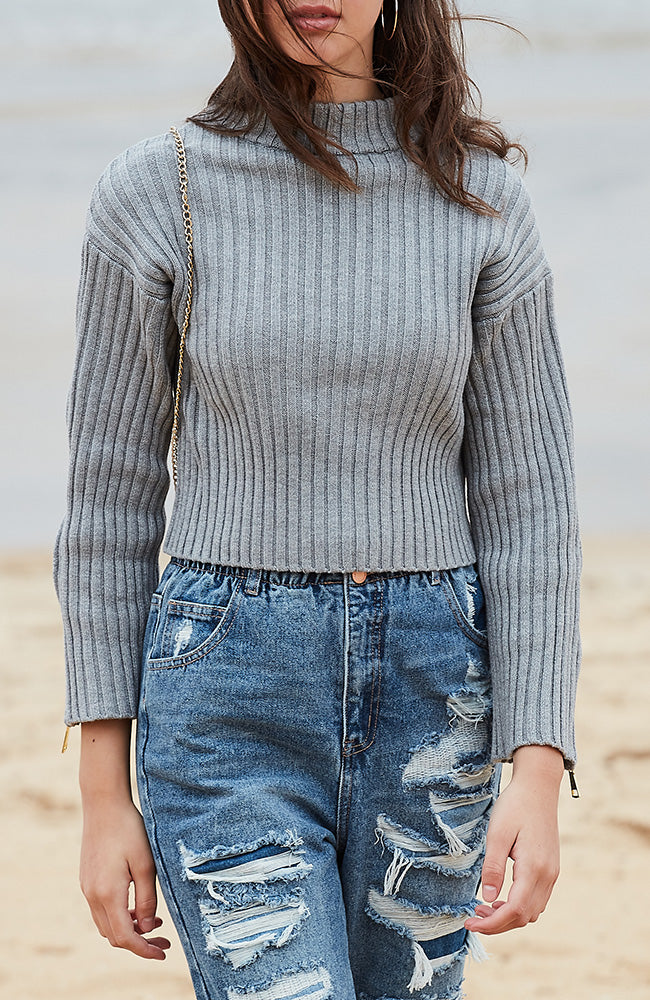 sierra grey ribbed zip sleeve knit